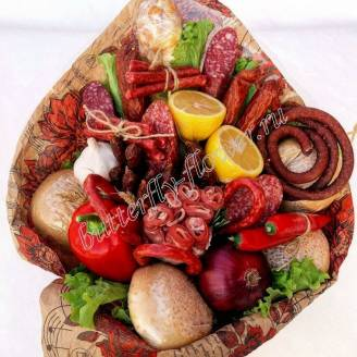 "Food meat bouquet of sausage, vegetables and cheese ""For Man No.927"""
