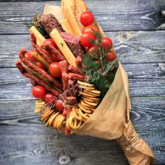 "Food meat bouquet of sausage, vegetables and cheese ""For Man No.929"""