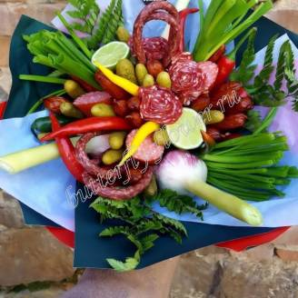 "Food meat bouquet of sausage, vegetables and cheese ""For Man No.930"""