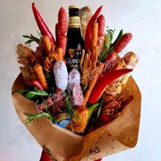 "Food meat bouquet of sausage, vegetables, cheese and alcohol (as a gift) ""For Man No.931"""