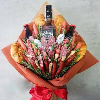 "Food meat bouquet of sausage, vegetables, cheese and alcohol (as a gift) ""For Man No.932"""