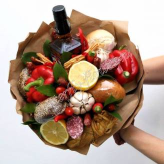 "Food meat bouquet of sausage, vegetables and alcohol (as a gift) ""For Man No.933"""