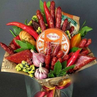 "Food meat bouquet of sausage, vegetables and cheese ""For Man No.940"""