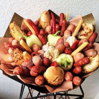 "Food meat bouquet of sausage, vegetables and cheese ""For Man No.943"""
