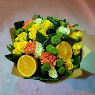 """Bouquet of roses, chrysanthemums and carnations """"Peppy Citrus"""""""
