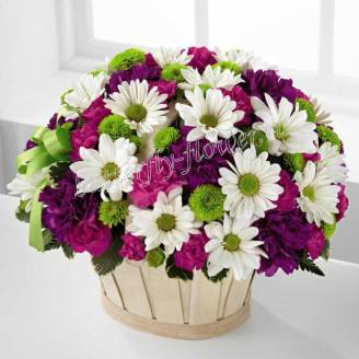 "Basket of chrysanthemums and carnations ""Charming stranger"""