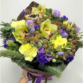 "Bouquet of orchids, Nobilis, eustoma, dianthus and exotic ""Winter berries"""