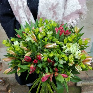 "Bouquet of multi-colored alstroemeria ""Fountain of Desires"""