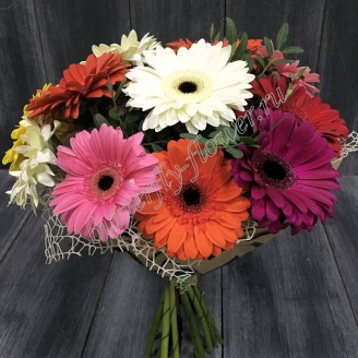 "Bouquet of multi-color gerberas ""Rainbow mood"""
