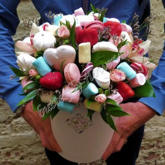 "Food bouquet of flowers of orchids, spray roses and sweets in a designer box ""Sweet No.811"""