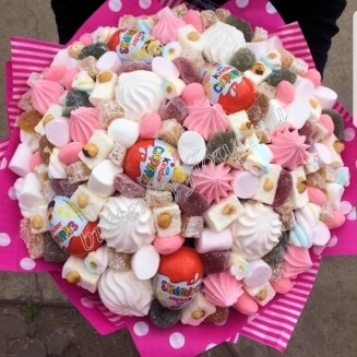 """Food bouquet of marshmallows, marmalade, sweets and kinder surprise """"Sweet No. 821"""""""