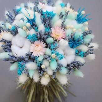 "Bouquet of dried flowers - lagurus, gelichrysum, lavender, nigella and cotton ""Olivia"""